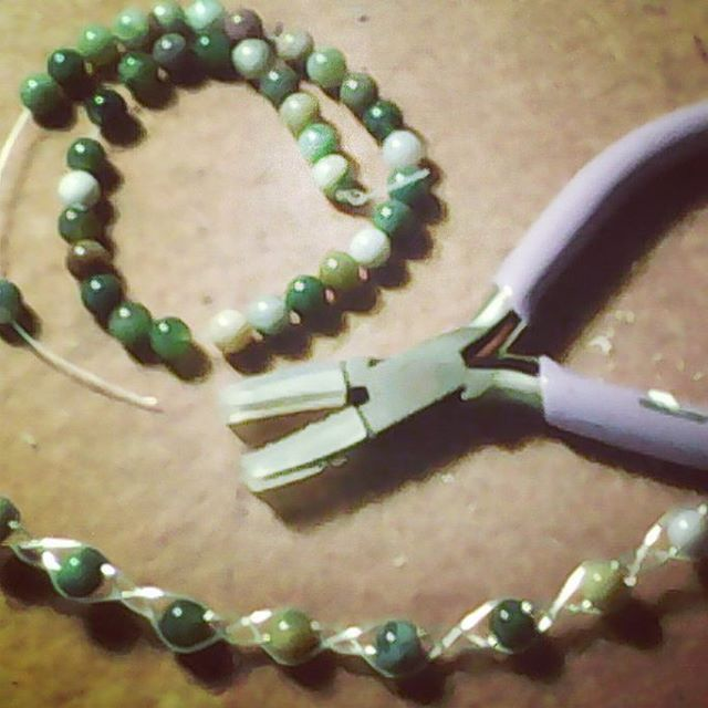 Working on a necklace #handmade necklace #beaded #wirewrapped