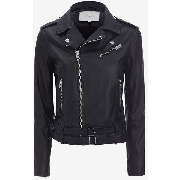 IRO Galaxy Belted Hem Moto Leather Jacket: Black ($1,298) ❤ liked on Polyvore featuring outerwear, jackets, casacos, coats, black, black biker jacket, leather jacket, black jacket, belted leather jacket and real leather jacket