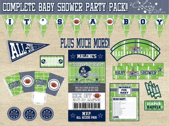 Dallas Cowboys Inspired All Star Complete Baby Shower Invitation And Party  Decoration Kit