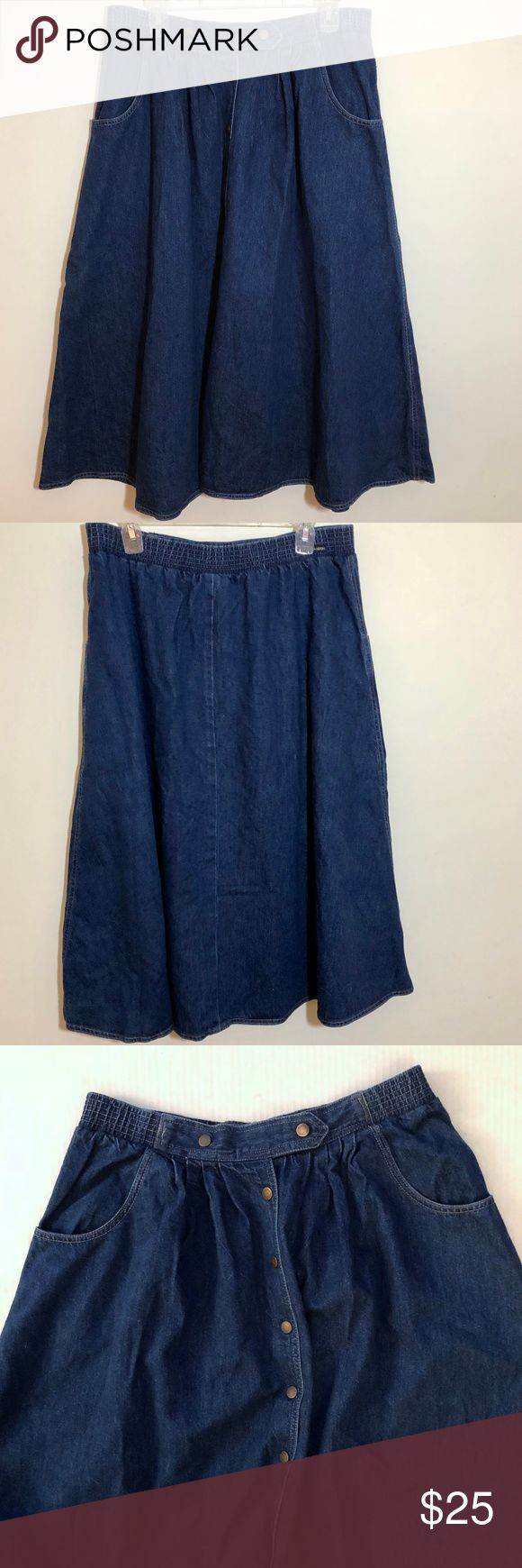"""Vintage Sasson Long Denim Flared Snap Front Skirt Sasson Skirt Size 14 Waist: 33"""" (unstretched) Length: 32"""" 100% Cotton Machine washable Blue Denim Full Snap Front Elastic Waist Two Front Pockets Flared Gently used pre-owned condition. No holes or stains. The snaps show some tarnish. Sasson Skirts"""