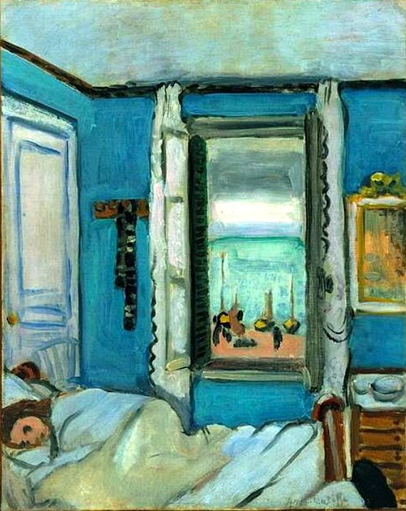 Étretat Interior, 1920 Henri Matisse  Love the colour of the walls in this bedroom. Matisse was a master of colour