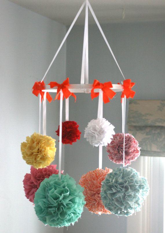 Nursery Mobile Baby Mobile Crib Mobile Hanging Pom by MarigoldPoms, $90.00