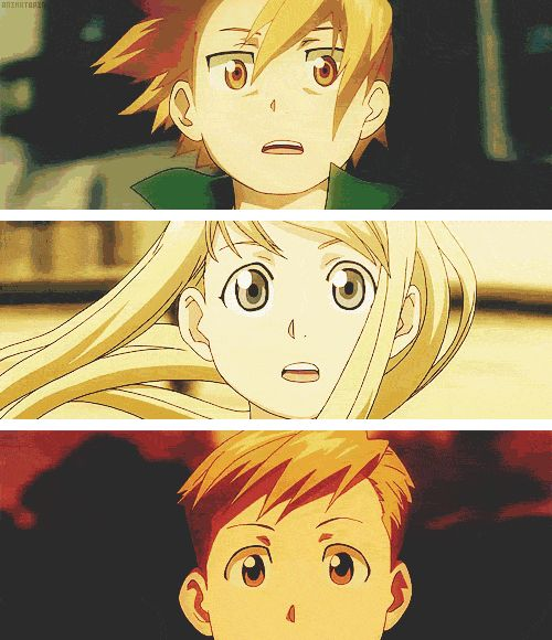 I love this. It shows their struggles. Ed loses his arm and leg. Al loses his whole body. And Winry stumbles because she saw what happened to them and it hurts.