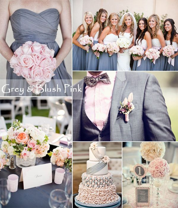 Grey and blush pink wedding ideas  for summer 2014
