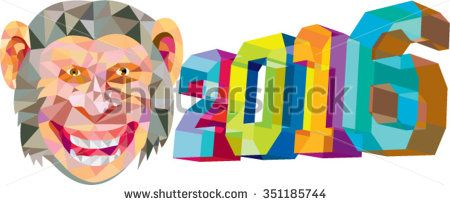 Low polygon style illustration of a monkey chimp with the number new year 2016 for the Chinese zodiac year of the monkey on the side set on isolated white background.  - stock vector #2016 #lowpolygon #illustration