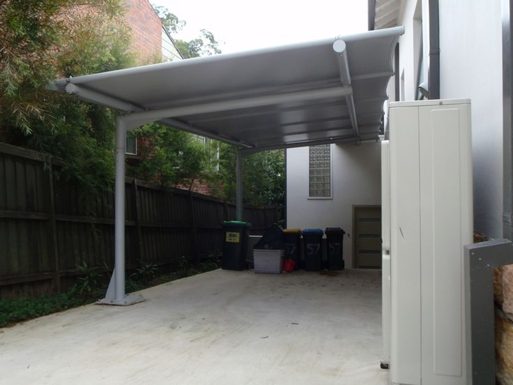 Cantilevered Carport Awning With Poles Only One Side
