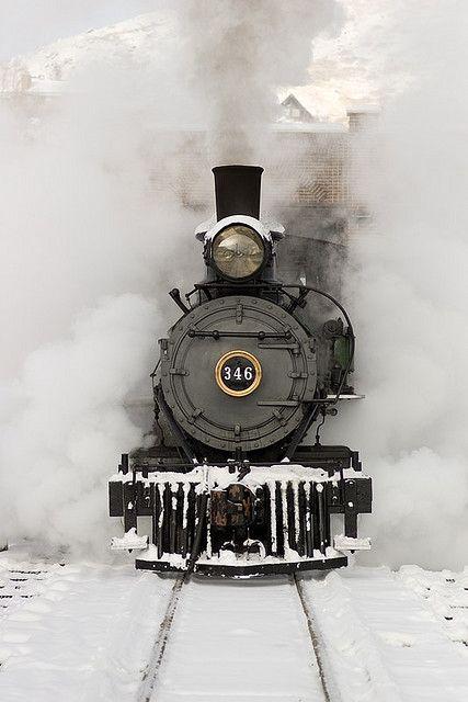Winter train. Snow, locomotive, history, steam, smoke, curves, on rails, railway, tracks, photograph, photo