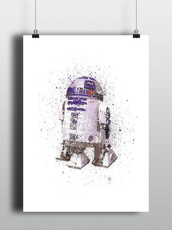 Star Wars Poster Print - R2-D2| Watercolour | Digital Download | Wall Art | Videogame Art | Star Wars Droid | Minimalist