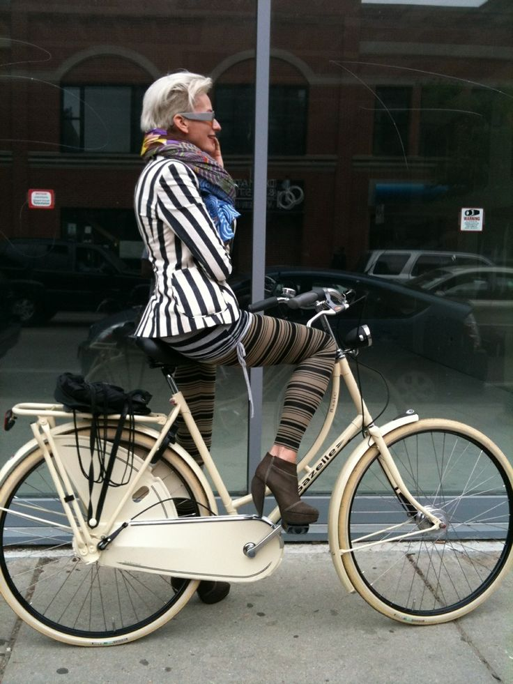 Silver hair, Cream bike, Stripes....ATTITUDE to spare!!