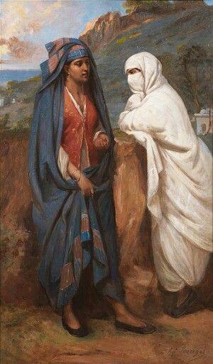 Algérie - Peintre Français Hippolyte Lazerges (1817-1887), Huile sur toile 1877 , Titre : Conversation entre deux Algéroise