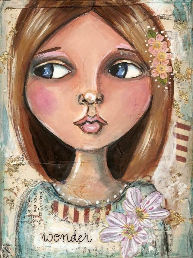 Big eye Girl portrait Mixed medial painting  6 x 9. $40.00, via Etsy.
