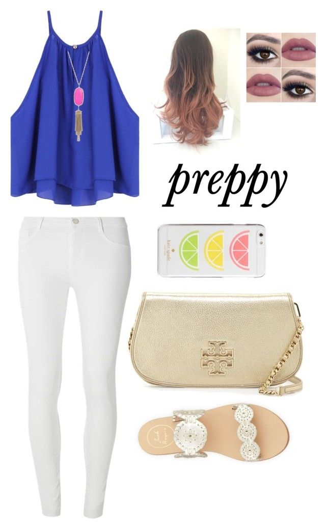 """preppy school outfit"" by mkhays on Polyvore featuring Dorothy Perkins, Jack Rogers, Tory Burch, Kendra Scott and Kate Spade"