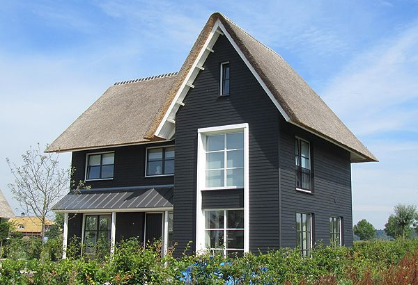 Interesting the way the two vertical windows are tied together with the white trim. Others black.