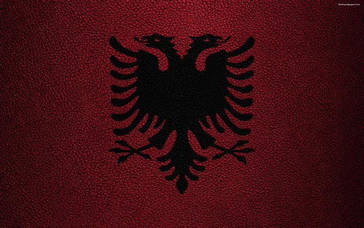 Download wallpapers Flag of Albania, 4k, leather texture, Albanian flag, Europe, flags of Europe, Albania