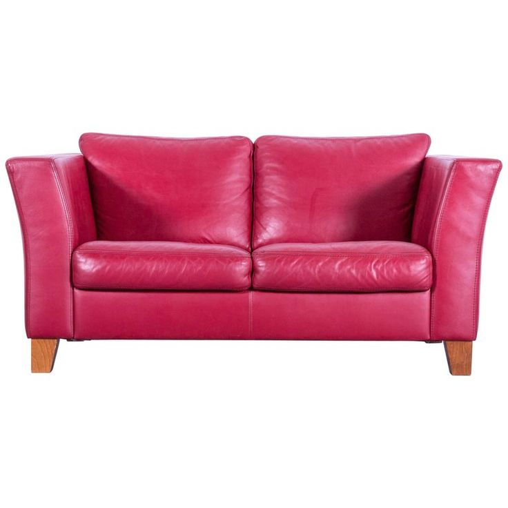 Machalke Designer Leather Sofa Red Two-Seat Couch | 1stdibs.com