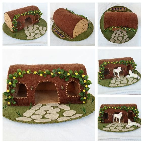 Yellow Rose Hollow Log Playscape Play Mat Felt Pretend Open-ended Fairytale Woodland Cottage Doll house Storytelling Animal Forest toy child