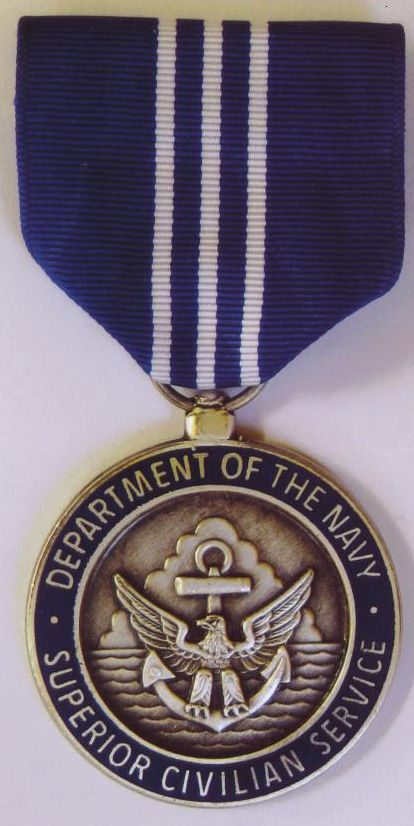 USA Navy Superior Civilian Service Award is the highest honorary award the Chief of Naval Operations or the Commandant of the Marine Corps may bestow on a civilian employee in the Department of the Navy and the highest award granted at the major claimant level. This is the second highest honorary award under the Department of the Navy Civilian Awards program.