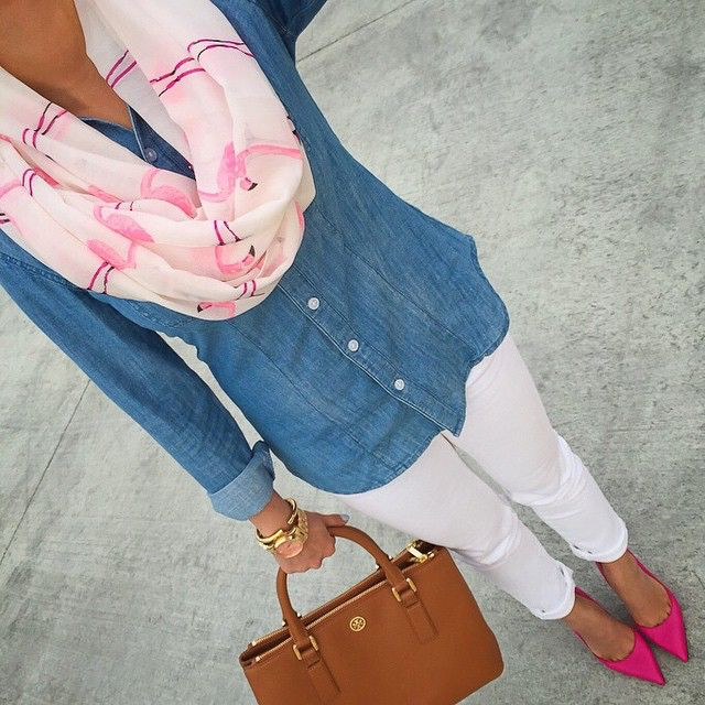 Fashion and Lifestyle Blogger Annie (@StylishPetite) takes the cutest total-look-selfies! Here, the petite little darling is rocking a Flamingo scarf, Loft chambray shirt, AG jeans, Kate Spade pumps and Tory Burch purse. #Aboutalook