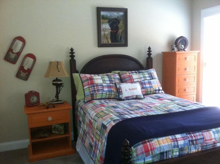 Pottery Barn Kids Madras Quilted Bedding. Annie Sloan Chalk Paint Barcelona Orange.  Antique family bed. Painting of our black lab.