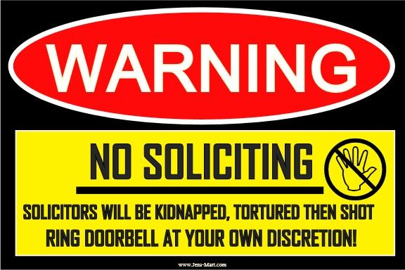 Funny sign stick decal no soliciting decal sticker adult prank