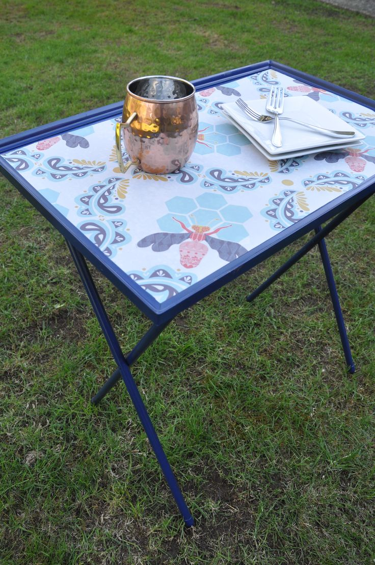 Turn TV Trays into patio and camping side tables!