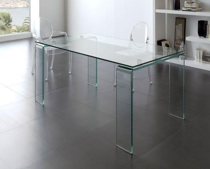 Contemporary Clear Glass Dining Table