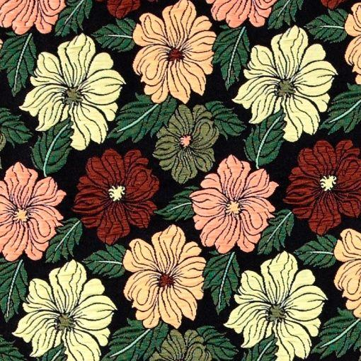 Brokade sort med blomster