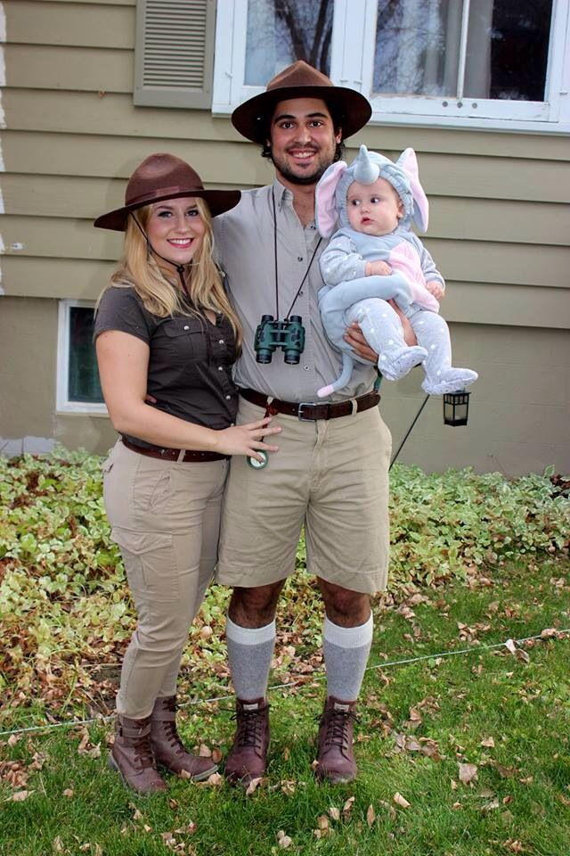 Family Halloween costume. Elephant tusk poachers and their latest prize!