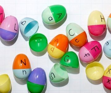 Create this lower- and uppercase learning activity with plastic Easter eggs. Mom of six Arlee Greenwood, of MySmallPotatoes.com, wrote letters on the halves of mismatched plastic eggs, and let her kids match up lower- and uppercases. 3 years+