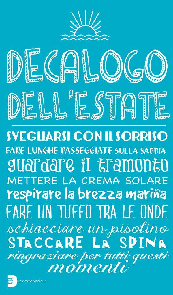 Decalogo dell'estate - Esseredonnaonline