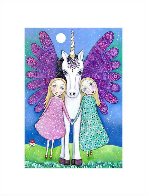 Winged Unicorn wall print blonde twins art A3 folk art print gift for twins blonde girls room art magical unicorn children's wall art