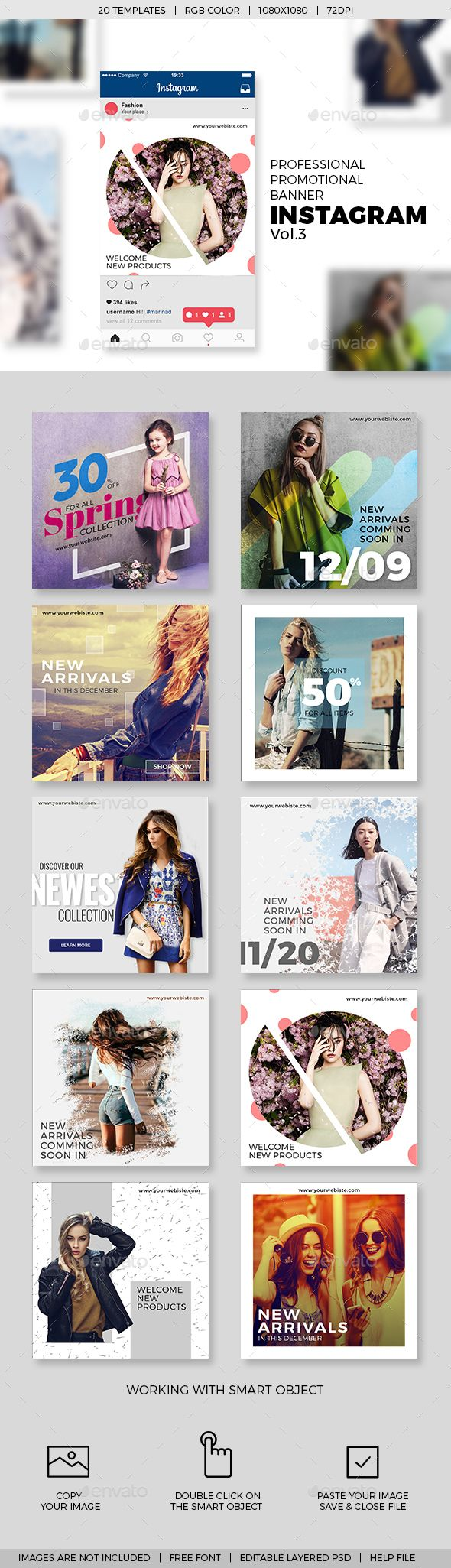 10 Instagram Promotional Banner Templates V.03 - #Social Media Web Elements