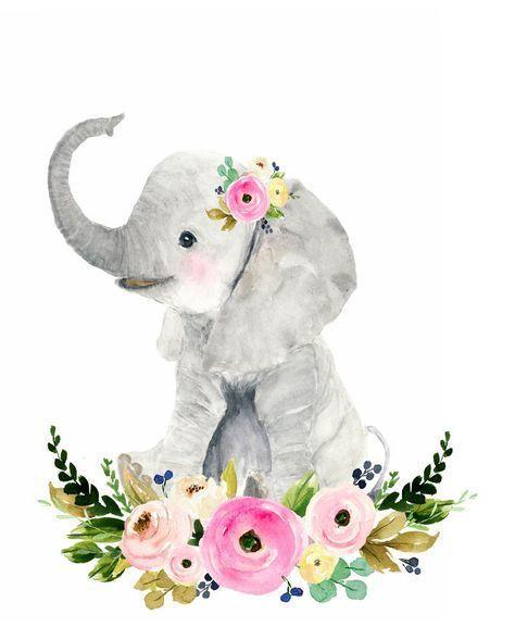 Safari Babys Kinderzimmer Set, Tierbilder, Elefanten, Giraffen, Zebras, Aquarelle …