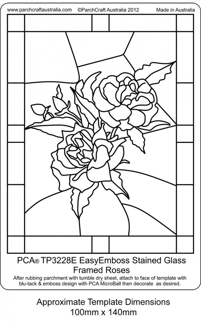 PCA EASY EMBOSSING TEMPLATE - STAINED GLASS FRAMED ROSES This template depicts roses in a RECTANGULAR frame. The Stained Glass style templates are ideal for projects such as birthdays, thank you, invitation, get well, sympathy etc or just as a little project to pop into a small frame and grace your dresser.
