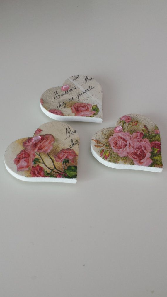 Set of 3 Handmade Heart Shaped Decoupage Fridge Magnets