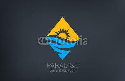Wektor: Travel vector logo design. Rhombus shape creative