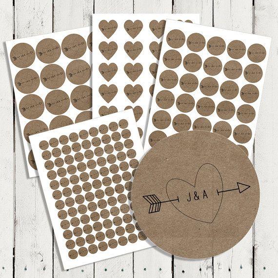 Personalized Wedding Brown Kraft Stickers by happyhoursprints, $4.75