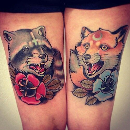 Raccoon and fox traditional tattoos | ink | Pinterest