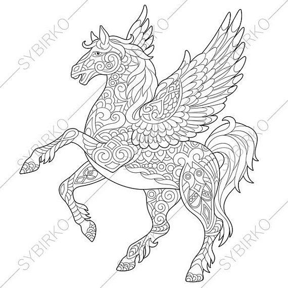 Coloring Pages For Adults Pegasus Fairytale Flying Horse Etsy Horse Coloring Pages Unicorn Coloring Pages Horse Coloring