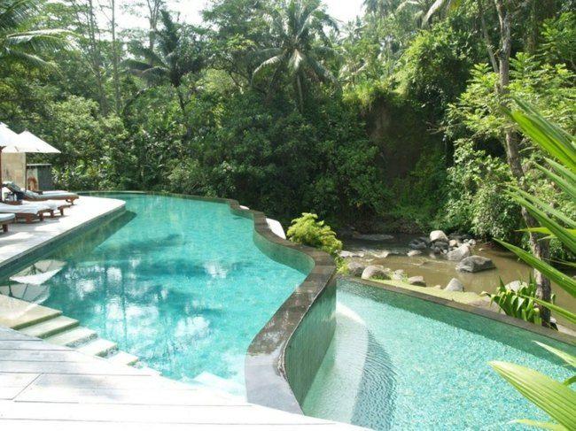 Haus Fluss Pool zwei GFK Schwimmbecken