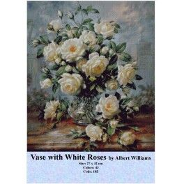 Cross Stitch Set - Vase with White Roses by Albert Williams
