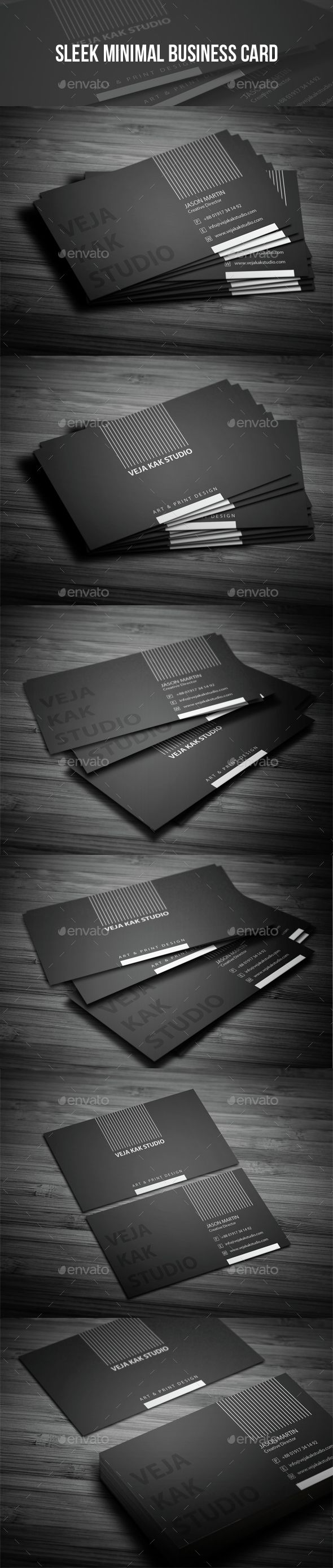 Sleek minimal business card. Sleek minimal business card template. Best suitable for personal and commercial use. Features:  Cre