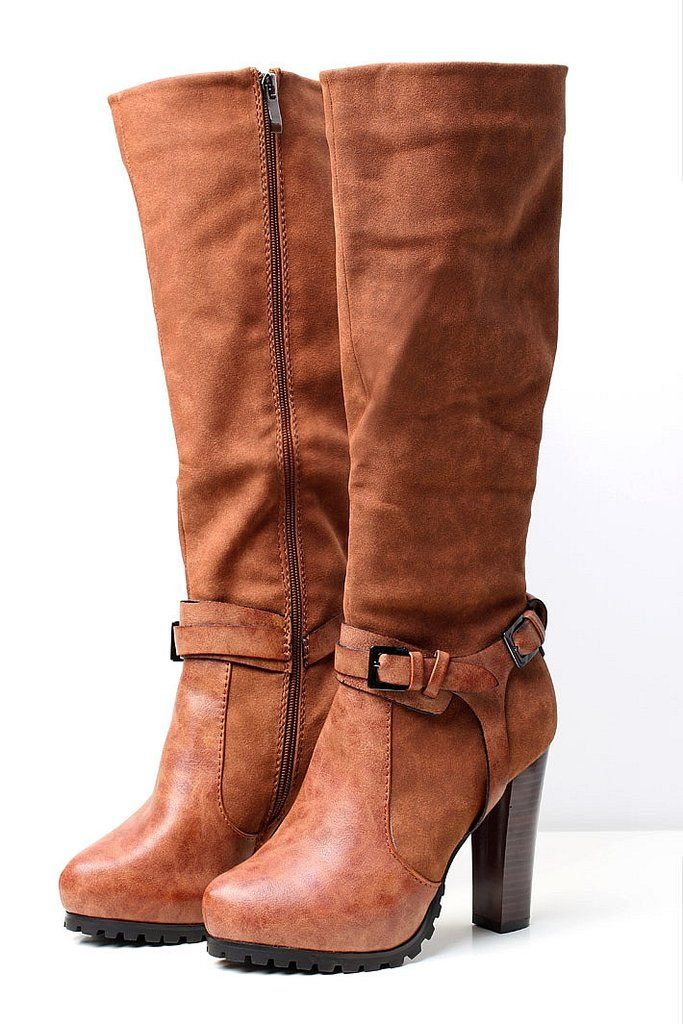 Long heeled boots - brown