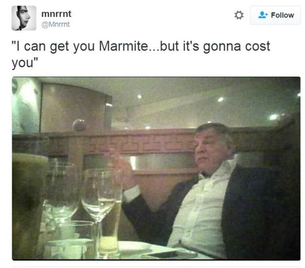 Undercover footage of Sam Allardyce with caption: