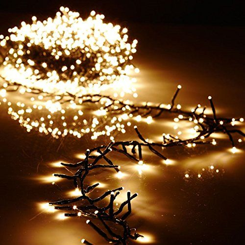 Christmas Cluster Lights 10 Foot Garland with 300 Warm White Lights