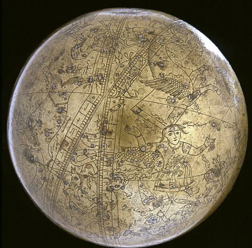 Islamic Celestial Globe, 1630 A.D. This brass globe served both as a map of the heavens, as viewed from outside the starry sphere, and as a precision tool for making astronomical calculations. Engraved on its surface are various coordinate lines, constellation figures, and Arabic inscriptions. The stars are made of embedded bits of silver. The globe is hollow and was cast in one seamless piece. It was originally set in a cradle of rings, which depicted the horizon and other astronomical cir