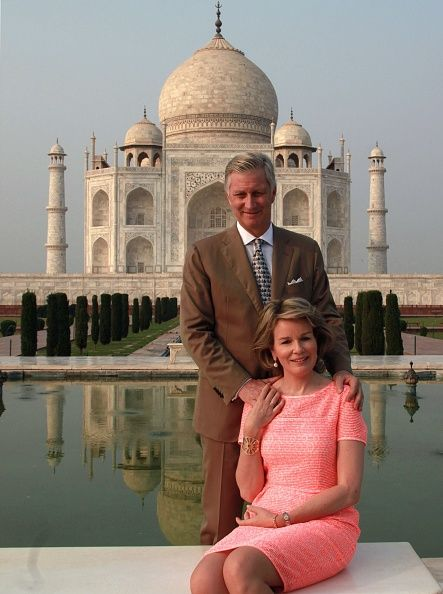 Belgium's King Philippe and Queen Mathilde posed for a snap on the bench outside the Taj Mahal in Agra on November 6, 2017. Belgium's King and Queen are on a state visit to India until November 11.
