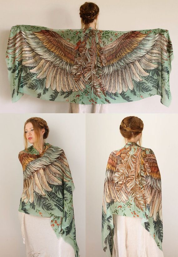 Modal Green Women scarf Hand painted Wings and feathers by Shovava
