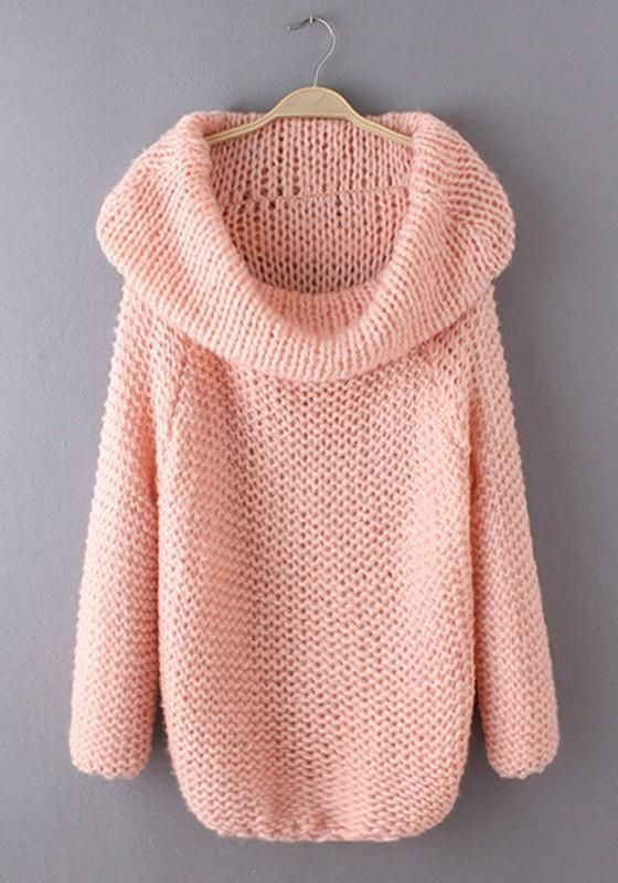 605675a1a74a Pink Irregular Turndown Collar Fashion Acrylic Pullover Sweater in ...
