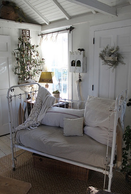 old iron bed, white decor, winter